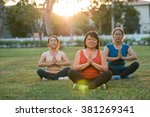 aged women performing asana at... | Shutterstock . vector #381269341