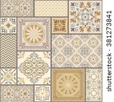 seamless patchwork tile with... | Shutterstock .eps vector #381273841