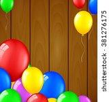 modern birthday balloons on... | Shutterstock .eps vector #381276175