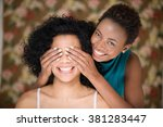 woman covering friends eyes | Shutterstock . vector #381283447