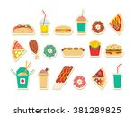 fast food set. vector fast food ... | Shutterstock .eps vector #381289825