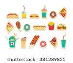 fast food set. vector fast food ... | Shutterstock .eps vector #381289825