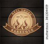 barbecue bbq logo  stamp  retro ... | Shutterstock .eps vector #381304459