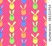 cute easter bunny  seamless... | Shutterstock .eps vector #381311914