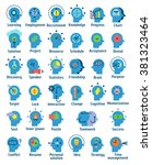 Stock vector flat pictogram icons set of human brain working feelings and emotions 381323464