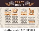 beer restaurant brochure vector ... | Shutterstock .eps vector #381333001