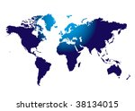 outline of the world mass in... | Shutterstock . vector #38134015