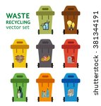 set of waste sorting bins.... | Shutterstock .eps vector #381344191