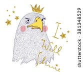 eagle with crown for apparel  | Shutterstock .eps vector #381348529