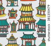 asian houses seamless pattern.... | Shutterstock .eps vector #381350479
