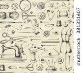 set of needlework   scissors ... | Shutterstock .eps vector #381351607