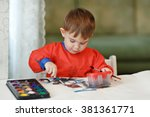 small charming baby boy in a... | Shutterstock . vector #381361771
