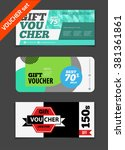 gift voucher vector set. sale... | Shutterstock .eps vector #381361861