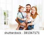 happy family mother  father and ... | Shutterstock . vector #381367171