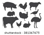 Farm Animal Silhouettes. Vecto...