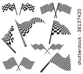 set of black and white checked... | Shutterstock . vector #38137420