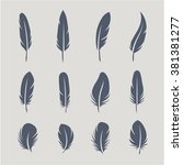 black feathers icon set... | Shutterstock .eps vector #381381277