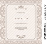 vintage invitation card with... | Shutterstock .eps vector #381383179