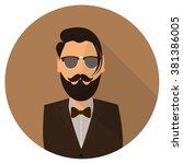 beard man gentleman hipster... | Shutterstock .eps vector #381386005
