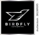 phoenix bird logo. line fly... | Shutterstock .eps vector #381389095