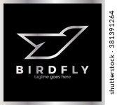 phoenix bird logo. line fly... | Shutterstock .eps vector #381391264