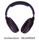 big disco head phones isolated... | Shutterstock . vector #381400069