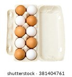 top view of opened box of ten... | Shutterstock . vector #381404761