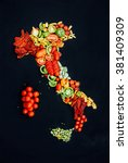 map of italy made of tomatoes... | Shutterstock . vector #381409309