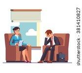 broken businessman talking to... | Shutterstock .eps vector #381410827