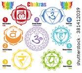 seven chakras of the human body ... | Shutterstock .eps vector #381412039