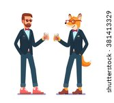 hipster fox and man standing in ... | Shutterstock .eps vector #381413329