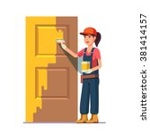 professional painter painting...   Shutterstock .eps vector #381414157