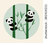 vector illustration of pandas... | Shutterstock .eps vector #381414211