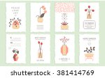 collection of 8 cute card... | Shutterstock .eps vector #381414769