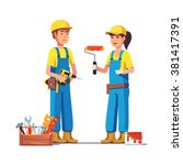 workers in uniform. painter and ... | Shutterstock .eps vector #381417391