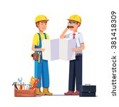 carpenter talking with foreman... | Shutterstock .eps vector #381418309