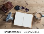old camera  sunglasses  notepad ... | Shutterstock . vector #381420511