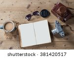 old camera  sunglasses  notepad ... | Shutterstock . vector #381420517