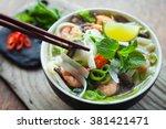 vietnamese pho tom yum    asian ... | Shutterstock . vector #381421471