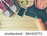 sport shoes and clothes on... | Shutterstock . vector #381433771
