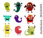 cartoon monsters set. colorful... | Shutterstock .eps vector #381434494