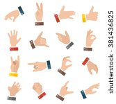 open empty hands showing...   Shutterstock .eps vector #381436825