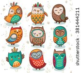 cute indian hand drawn owl... | Shutterstock .eps vector #381444211