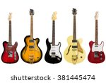 Electric guitars isolated on...