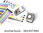 printers loupe on printed sheet ... | Shutterstock . vector #381447484