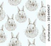 Stock vector  rabbit sketch seamless pattern hand drawn vector illustration 381449047