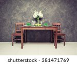 sweet wooden dining table and... | Shutterstock . vector #381471769