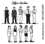 cartoon office worker | Shutterstock .eps vector #381485389