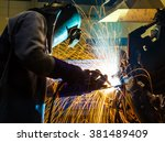 welder welding  movement... | Shutterstock . vector #381489409