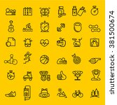 sport and fitness icons set ... | Shutterstock .eps vector #381500674